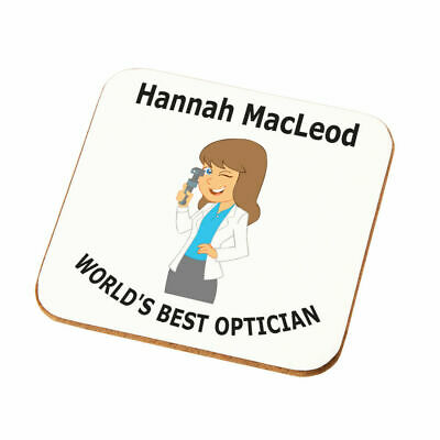 Personalised Female Worlds Best Optician Coaster Gift Wife Daughter Mum Present • 4.49£