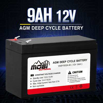 AU25.99 • Buy MOBI 12V 9AH AGM Deep Cycle Battery Charge Batteries Dual Fridge Solar Power 4X4
