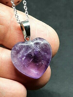 Amethyst Heart Pendant Crystal Gemstone Spiritual 18  Chain Necklace Boxed. • 5.49£