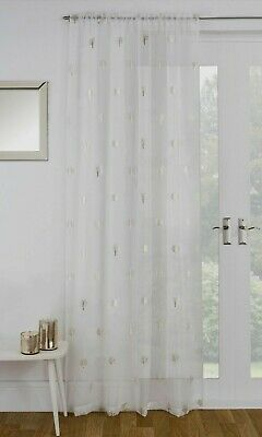 £9.99 • Buy Shimmery Glittering Metallic Gold Birch Trees Ivory Cream Voile Curtain Panel