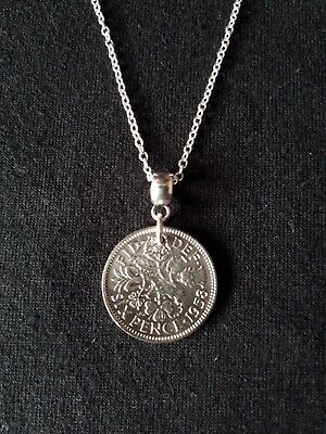 English Sixpence Coin Necklace. Choice Of Year And Sterling Silver Chain. • 6.99£