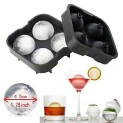 Large Ice Cube 4 Ball Tray Maker Silicone Mould Sphere Whiskey Round UK Seller • 5.99£