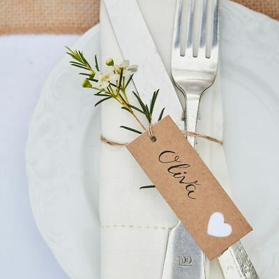 Ginger Ray Kraft Heart Luggage Tags, Rustic Country Wedding - Pack Of 8  • 2.95£