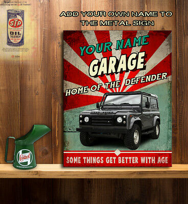 PERSONALISED LAND ROVER DEFENDER GARAGE Retro Vintage Metal Wall Sign RS149 • 11.95£