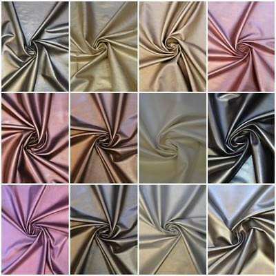 11 COLOURS - SOFT SPANDEX FAUX LEATHER LEATHERETTE FABRIC 54  Wide 1 WAY STRETCH • 4.99£