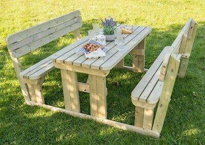 Picnic Table And Bench Set Wooden Garden Furniture With Back Rest, Alders Round • 294£
