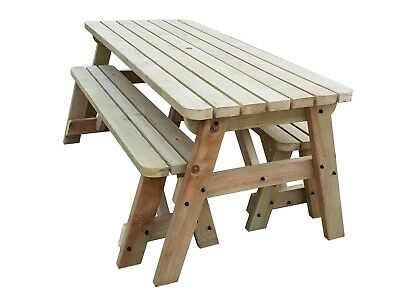 Picnic Table And Bench Set Wooden Garden Furniture, Victoria Rounded Compact • 214£