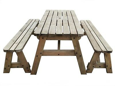 Picnic Table And Bench Set Wooden Outdoor Garden Furniture, Victoria Rounded • 184£