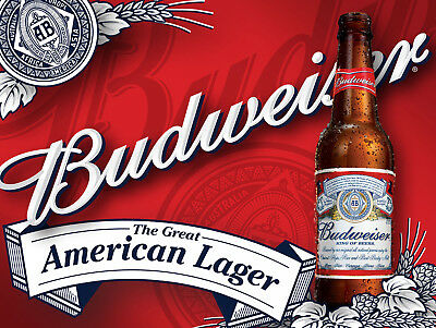 Budweiser, Retro Metal Aluminium Sign Vintage / Man Cave / Bar/ Pub • 4.45£