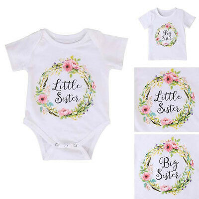 AU10.26 • Buy Baby Kids Girl Little Big Sister Matching Clothes Romper Outfits T Shirt