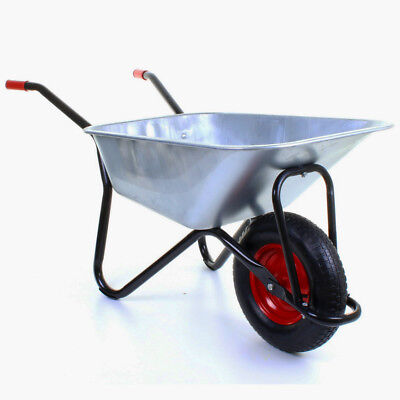 100l Heavy Duty Galvanised Wheelbarrow Puncture Proof/inflatable Wheels Black • 14.99£