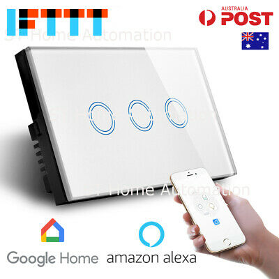 AU59.94 • Buy AU Approved SMART HOME Alexa & Google Home WiFi Wall Switch 3 Gang SmartLife SAA