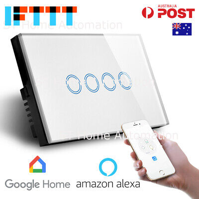 AU59.05 • Buy AU Approved SMART HOME Alexa & Google Home WiFi Wall Switch 4 Gang SmartLife SAA