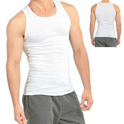 $15.96 • Buy 3-6 Packs Mens 100% Cotton Tank Top A-Shirt Wife Beater Undershirt Ribbed Muscle