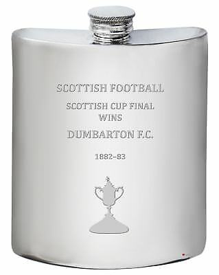 DUMBARTON F.C. Scottish Cup Total Wins History Pewter 6oz Hip Flask • 63.95£