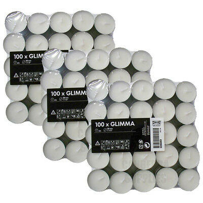 IKEA Glimma 200 Tea Light Candles Unscented White 38mm Wax Tealight 4 Hours • 16.99£
