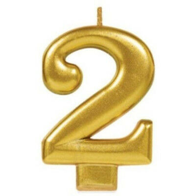 AU4.35 • Buy 2nd BIRTHDAY PARTY SUPPLIES CANDLE NUMBER TWO GOLD METALLIC 2 CAKE TOPPER DECOR