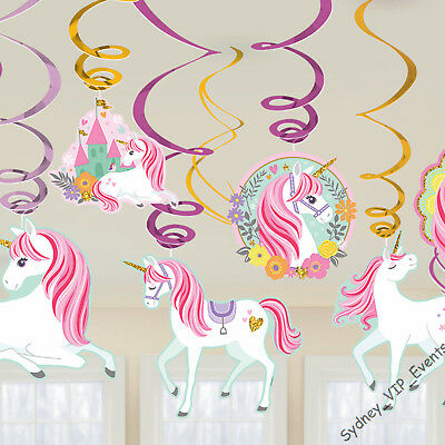 AU6.45 • Buy Girls Birthday Party Magical Unicorn Hanging Swirls Decoration 12pcs Swirling