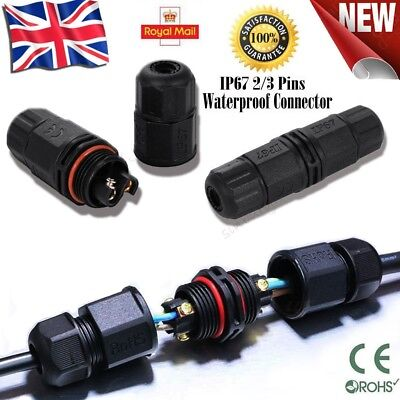 2/3 Pins IP67 Waterproof Electrical Cable Wire Connector Outdoor Underwater Plug • 2.89£