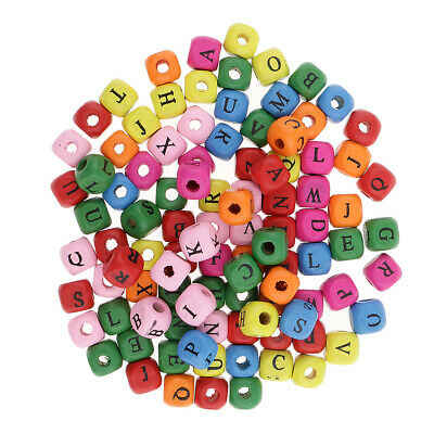 £3.37 • Buy 100pcs Mini Wooden Alphabet Letters Cube Beads Charms Jewelry Findings 10mm