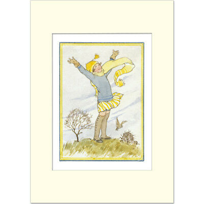 A Windy Day - Margaret Tarrant - Medici Mounted Print • 21£