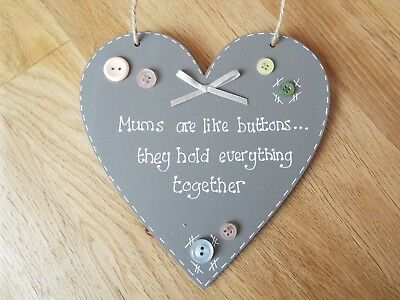 £5.99 • Buy Mums Are Like Buttons Grey Heart Sign Plaque Mum, Nan Gift Shabby Chic Sign