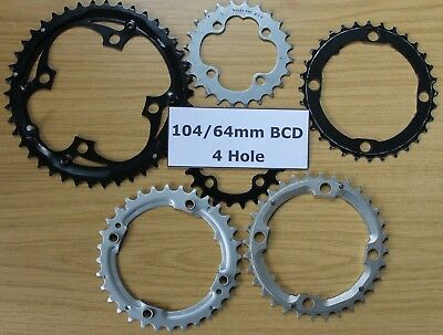Budget Unbranded 104 64 Mm BCD PCD Chain Rings 22 - 44 T Ring Chainring 4 Hole • 5.99£