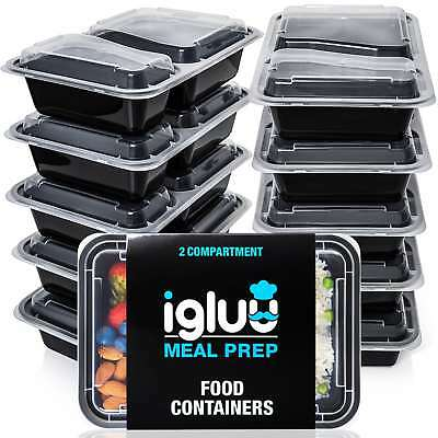 Igluu Meal Prep Food Containers 2 Compartment [10 Pc] BPA Free Bento Lunch Box • 13.95£