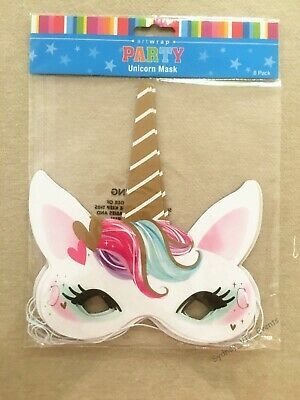 AU5.45 • Buy Girl Birthday Party Supplies Unicorn Paper Face Masks 8pk Magical Fantasy Favour