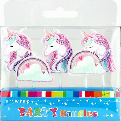 AU6.55 • Buy Girls Birthday Party Supplies Unicorn Rainbow Cake Candles 5 Picks Topper DÉcor