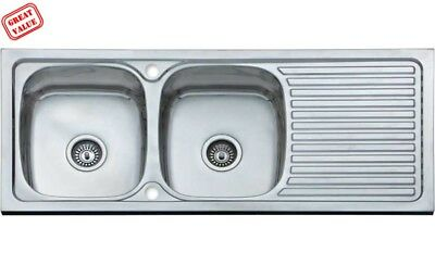 £69.99 • Buy Double Bowl Inset Sink With Drainer 1200 X 500  (Damaged) Please See Description