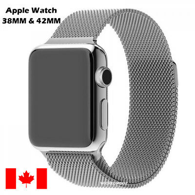 $ CDN15.99 • Buy For Apple Watch 38mm 42mm Milanese Loop Band Stainless Steel Band - Silver