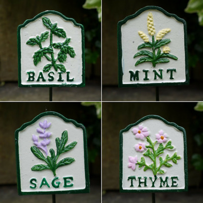 £7.59 • Buy Hand Painted Cast Iron Herb Signs Markers Basil,Chives,Mint,Parsley,Sage,Thyme,