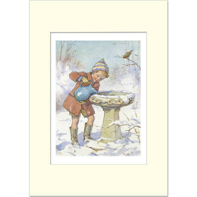 Robin's Thirsty - Margaret Tarrant - Medici Mounted Print • 21£