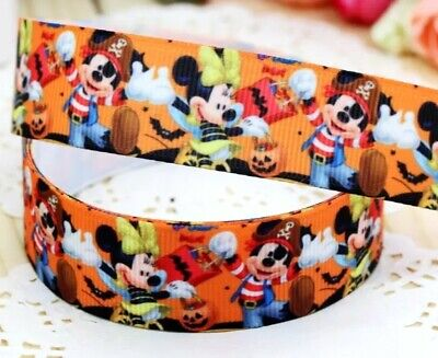 £5.04 • Buy 7/8  2 YARDS Minnie Mickey Mouse Pirates Grosgrain Ribbon Hair Bow Crafts Cards