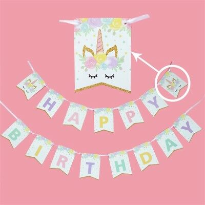 AU11.50 • Buy Unicorn Magic Banner Bunting Flag. Party Supplies Lolly Loot Bag Cake Decoration