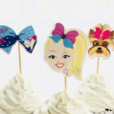 AU8.50 • Buy 12x Jojo Siwa Cupcake Food Topper Pick. *HANDMADE* Party Supplies Lolly Loot Bag