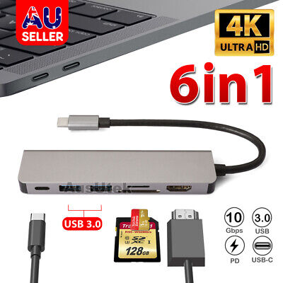 AU34.85 • Buy 6-in-1 Type C 3.1 Hub Adapter USB-C To 4K HDMI PD 2x USB3.0 SD SD TF Card Reader