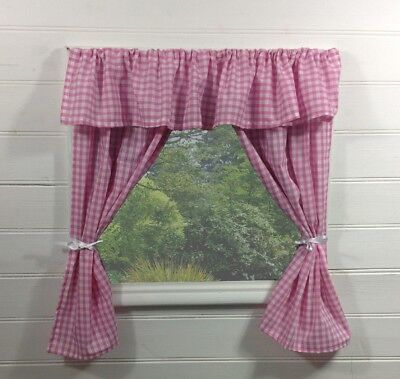£12.95 • Buy Kids Playhouse Curtains ~ Pink Gingham With Pelmet ~ Wendy/summer Accessories