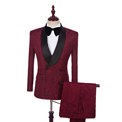 $ CDN113.72 • Buy Men's Wine Red Double Breasted Groom Tuxedos Formal Wedding Suit Custom Made