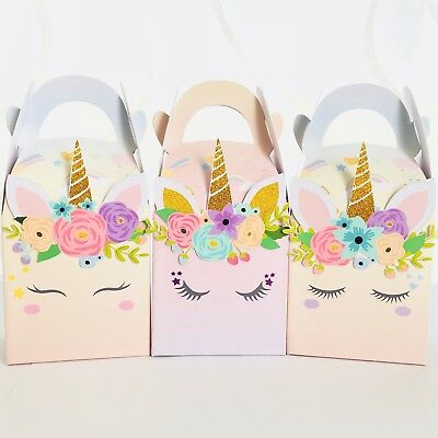 AU9.95 • Buy 6x Unicorn Lolly Loot Bag Box. Party Supplies Cake Topper Banner Flag Bunting