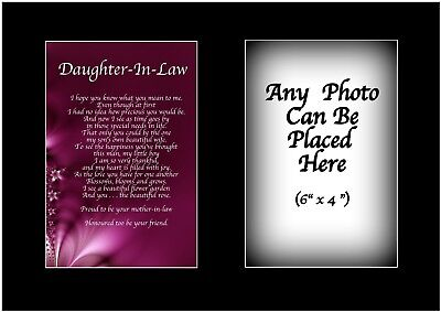 Daughter In Law Poem Personalised With ANY PHOTO Birthday Present Christmas Gift • 5.99£