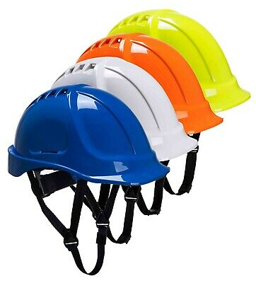 PORTWEST Endurance Helmet Vented Wheel Ratchet Chin Strap Hard Hat Safety PS55 • 9.49£