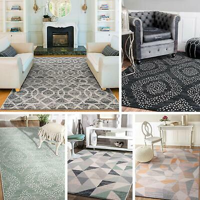 AU139 • Buy Extra Large Floor Rugs Light Grey Ivory Soft Trellis Lounges Moroccan Carpet Mat