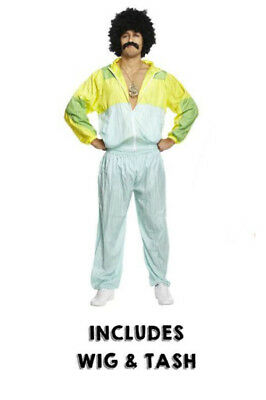 Mens 80s Scouser SHELL SUIT WIG TASH Fancy Dress Costume Tracksuit Stag Do Jimmy • 15.50£