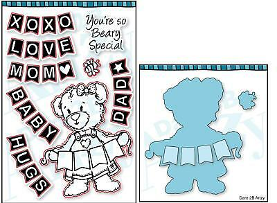 Dare 2B Artzy - Teddy Bear Banner - Clear Cling Rubber Stamp And Die Set Bundle  • 22.15£
