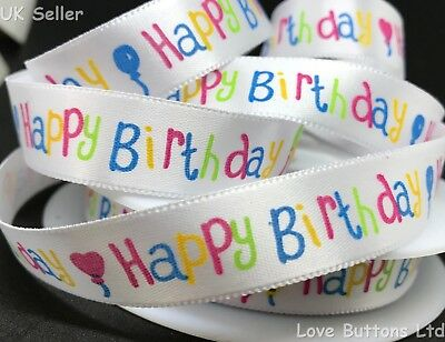 15mm HAPPY BIRTHDAY WHITE SATIN RIBBON FULL ROLL 20m GIFT WRAP PARTY BALLOON • 4.75£
