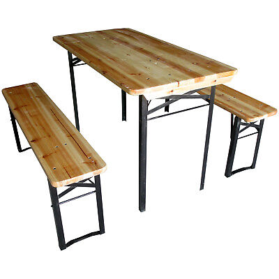 Beer Table & Bench Set Outdoor Wooden Folding Trestle Garden Furniture Steel Leg • 89.99£