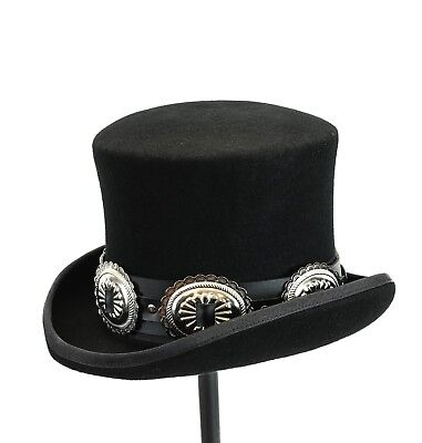 £17.97 • Buy Conch Wool Felt Top Hat Steampunk Topper Victorian Mad Hatter Slash Leather Band