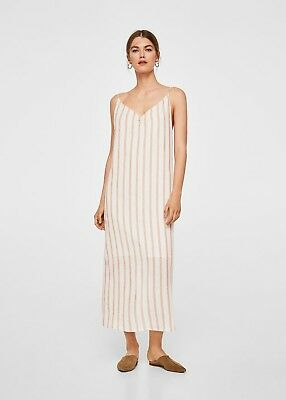 AU60 • Buy MNG Mango Peach And White Striped Cami Linen Dress - Midi / Mid Length - Size S
